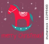 a funny cartoon wooden red... | Shutterstock . vector #121995400