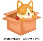 an adorable and cute pure breed ... | Shutterstock .eps vector #1219956190