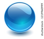 glass sphere  blue vector ball.  | Shutterstock .eps vector #1219960999