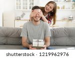 young female keeps eyes closed... | Shutterstock . vector #1219962976