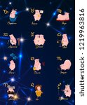 12 zodiac vector signs... | Shutterstock .eps vector #1219963816