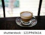 hot espresso macchiato coffee...   Shutterstock . vector #1219965616