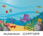vector illustration with coral... | Shutterstock .eps vector #1219971859