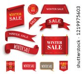 winter sale background with red ... | Shutterstock .eps vector #1219975603