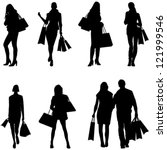 women shopping silhouettes  ... | Shutterstock .eps vector #121999546