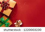 heap of gift boxes and stars... | Shutterstock . vector #1220003230