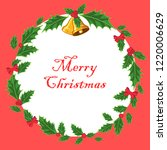 merry christmas card red... | Shutterstock .eps vector #1220006629