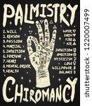 palmistry  chiromancy. white on ... | Shutterstock .eps vector #1220007499
