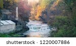 Dundaff Linn, the lowes of the Falls of Clyde as seen from New Lanark at sunrise. Scotland, UK