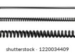 3d rendering of three differently sized spiral cables from black PVC on a white background. Communication cable. Low voltage lines. Phone connection.
