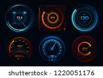 speedometer indicators. power... | Shutterstock .eps vector #1220051176