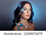 beautiful mysterious woman with ... | Shutterstock . vector #1220073679