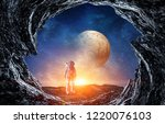 astronaut and space. mixed media   Shutterstock . vector #1220076103