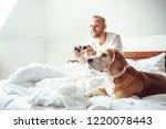 like a child  udult breaded man ... | Shutterstock . vector #1220078443