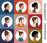 set of people faces in profile | Shutterstock .eps vector #1220085340