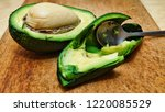 black and white. ripe avocado... | Shutterstock . vector #1220085529