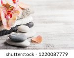 spa still life with pebbles and ... | Shutterstock . vector #1220087779