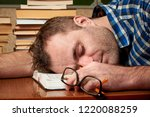a tired and tortured disheveled ...   Shutterstock . vector #1220088259