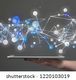network data in hand | Shutterstock . vector #1220103019