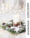 Christmas Candles And Snowy Fir ...