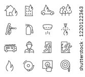 fire and firefighting  icon set.... | Shutterstock .eps vector #1220122363