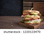 turkey or chicken leftover... | Shutterstock . vector #1220123470