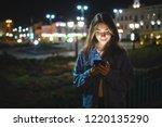 woman using smart phone mobile... | Shutterstock . vector #1220135290