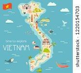 vietnm cartoon vector map with... | Shutterstock .eps vector #1220154703