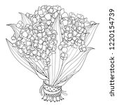 vector bride bouquet of outline ... | Shutterstock .eps vector #1220154739