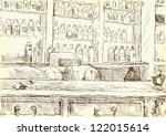 interior of an old pharmacy.  ... | Shutterstock .eps vector #122015614