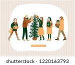happy friends decorating... | Shutterstock .eps vector #1220163793
