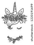 vector unicorn portrait   black ...   Shutterstock .eps vector #1220191699