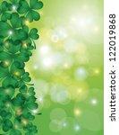 St Patricks Day Shamrock Leaves Border with Sparkles and Bokeh Background Illustration Vector