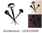 powder brushes. professional... | Shutterstock .eps vector #1220210560