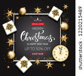 merry christmas sale banner... | Shutterstock . vector #1220215489