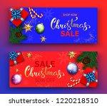 christmas sale vector banner...   Shutterstock . vector #1220218510