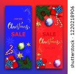 christmas sale vector banner...   Shutterstock . vector #1220218906