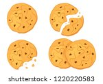 set of chocolate oatmeal... | Shutterstock .eps vector #1220220583
