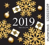 2019 with golden christmas...   Shutterstock . vector #1220223109