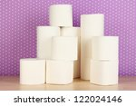rolls of toilet paper on purple ...   Shutterstock . vector #122024146