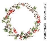 watercolor christmas wreath of... | Shutterstock . vector #1220250319