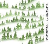 watercolor green pine trees... | Shutterstock . vector #1220250346