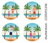 vacation on the beach family | Shutterstock .eps vector #1220251246