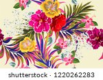 tropical seamless floral... | Shutterstock . vector #1220262283