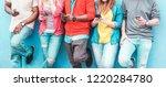group of friends watching smart ... | Shutterstock . vector #1220284780