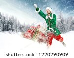 christmas elf and winter time  | Shutterstock . vector #1220290909