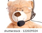 Business Teddy Bear with Headset / Call Center - stock photo