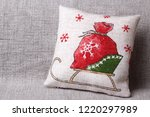 cushion with sledge and santas... | Shutterstock . vector #1220297989
