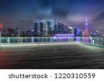 shanghai skyline and blank floor | Shutterstock . vector #1220310559