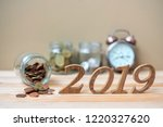 2019 happy new year with gold... | Shutterstock . vector #1220327620